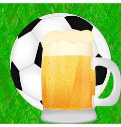 mug of beer and a soccer ball vector image