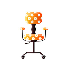 Office chair on wheels with fun design at white vector