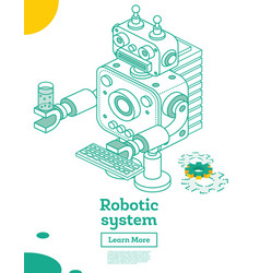 outline isometric toy robot with artificial vector image