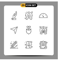 Outline pack 9 universal symbols beared vector