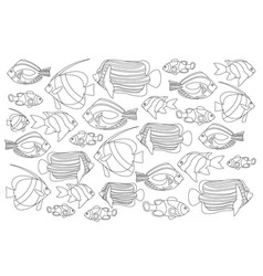 Outlined coral fishes horizontal coloring page vector