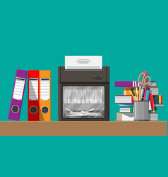 paper document in shredder machine vector image