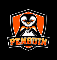 penguin hockey team mascot logo vector image