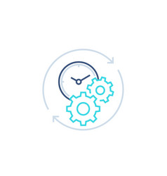 productivity line icon with stopwatch and gears vector image