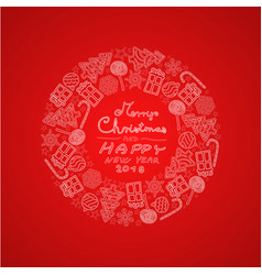 red christmas circular decoration with motifs vector image