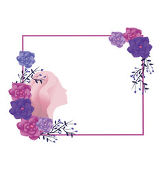 roses and female silhouette vector image