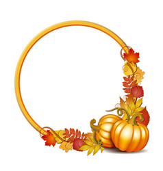 round frame with orange pumpkins and autumnal vector image
