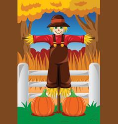 Scarecrow in fall season vector