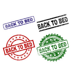 scratched textured back to bed seal stamps vector image