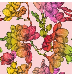 Seamless Floral Pattern with Spring Freesias vector