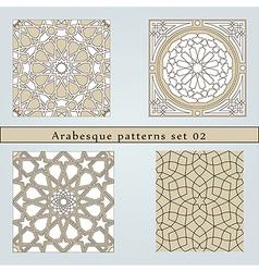 Set four arabesque seamless pattern vector