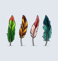 set hand drawn colorful bird feathers vector image