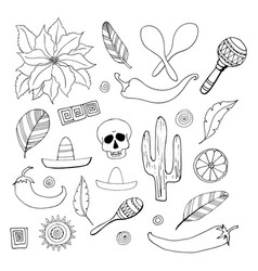 set of 26 hand drawn mexican elements in doodle vector image