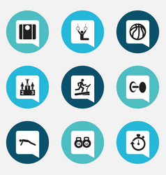 Set of 9 editable active icons includes symbols vector