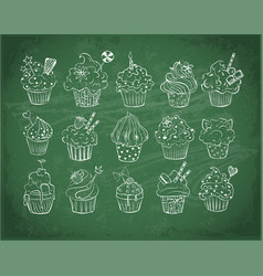 set of doodle sketch cupcakes with decorations vector image