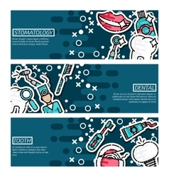 Set of Horizontal Banners about stomatology vector image