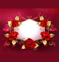 signboard with jewelry red roses vector image