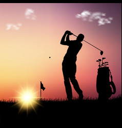Silhouette golfer with bag at sunset template vector