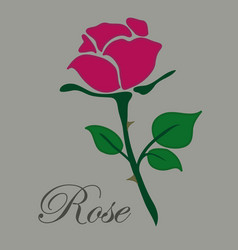 Simple flat red rose hand drawn icon vector