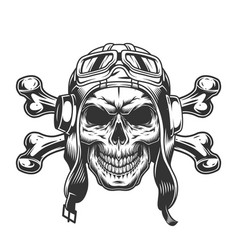 skull in pilot helmet and goggles vector image