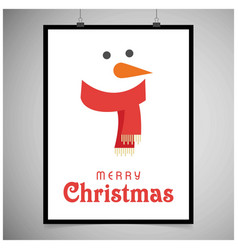 Snowman card with frame vector