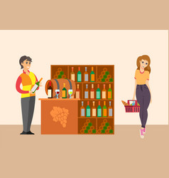 Sommelier with customer in winery shop vector