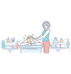 spa salon - modern line design style colorful vector image