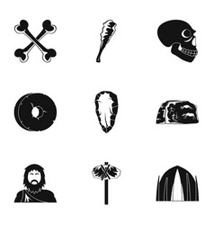 speleological icons set simple style vector image