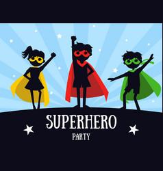 Superhero party banner cute kids in superhero vector