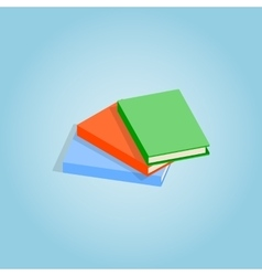 Three thin books icon isometric 3d style vector