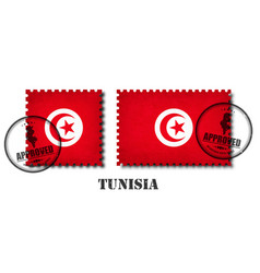 Tunisia or tunisian flag pattern postage stamp vector