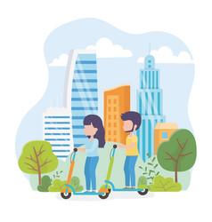 Urban ecology young man and woman riding kick vector