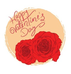 Valentine with red roses vector