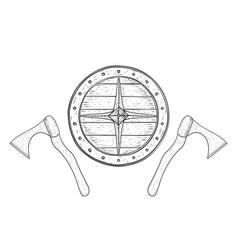 viking axes and shield hand drawn sketch vector image