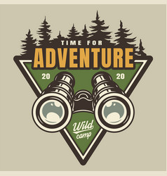 Vintage camping colorful logo vector