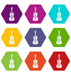 violine icons set 9 vector image