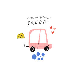 Vroom text lettering heart shapes cute vector