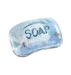 Watercolor piece soap blue color vector