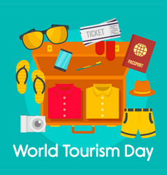 World tourism day background flat style vector