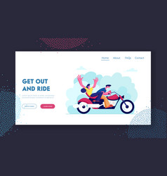 Young loving couple riding motorbike website vector