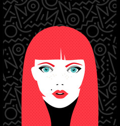young woman face with fashion make up vector image