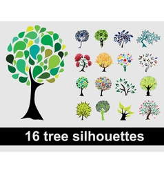 16 tree silhouettes vector image vector image