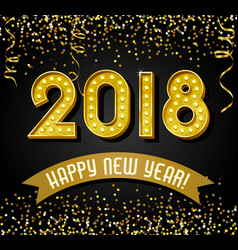2018 happy new year light bulb numbers vector image