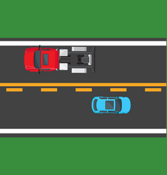 blue hatchback and red auto driving on highway vector image