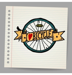 Doodles I Love Bicycle Sign vector image vector image