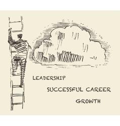Drawn man climbing stair successful career vector image vector image