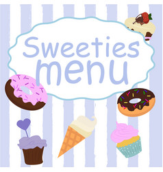 menu design for cake house bakery vector image