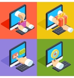 Online shopping and e-commerce concept isometric vector image vector image