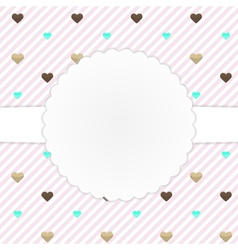 Pink card template with hearts vector image