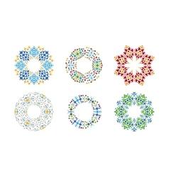 Colorful ethnic cirular frames set vector image